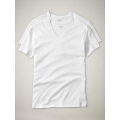 Gap Mens White Short-Sleeved V Neck Shirt 2 Pack