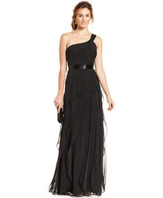 Adrianna Papell One-Shoulder Tiered Chiffon Gown - Shop all Wedding Dresses - Women - Macy's Chiffon Evening Dresses, Black Evening Dresses, Chiffon Gown, Strapless Dress Formal, Dress Long, Evening Gowns, Bridesmaid Dresses, Prom Dresses, Bridesmaids