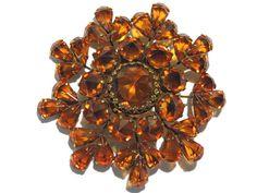 Spectacular Amber Inverted Rhinestone Brooch by darsjewelrybox