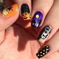 Uñas decoradas con diseños variados para halloween