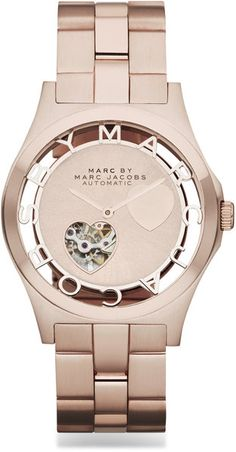 Rose Goldtone Stainless Steel Heart Cutout Watch - Lyst