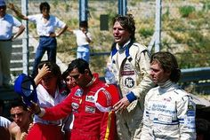 The podium (L to R): Emanuele Pirro (ITA) March, second; Mike Thackwell (NZL) Ralt, winner; Christian Danner (GER) March, third. European Formula 3000 Championship, Rd 8, Enna-Pergusa, Sicily, Italy, 28 July 1985 - © Sutton Motorsport Images