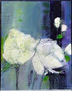 "Inge Philippin -  ""Majestic Flowers 3"" - mixed media on canvas"