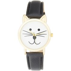 Olivia Pratt Watches Women's Tom Cat Watch (66 CAD) ❤ liked on Polyvore featuring jewelry, watches, accessories, bracelets, black, leather strap watches, leather-strap watches, cat jewelry, cat watches and dial watches
