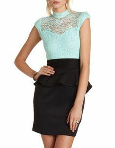 lace mock neck peplum dress