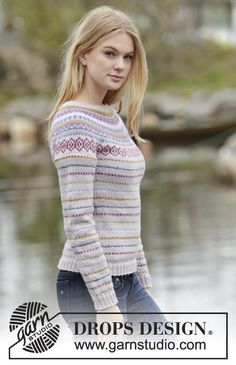 "Knitted DROPS jumper with round yoke and multi-colored pattern in border in ""Karisma"". Size: S - XXXL. ~ DROPS Design"