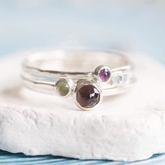 Mixed stack with 3mm and 5mm stones. Looks great right? #keepityours #natalkamakesjewelry #petitejoys #livecolorfully #smallthings #handmadejewelry #jewelrygram #silverjewelry #sterlingsilverjewelry #modernjewelry #gemstonejewelry #semipreciousstones #stackingrings #birthstonejewelry #turquoise #alternativebridal #mothersday #stackingrings #amethyst #smokyquartz