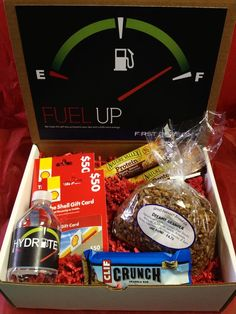 """Fuel Up! We hope this gift box jumpstarts your day with a little extra energy!""    Giveaway box for Columbus Regional.:"