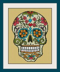 Sugar skull, INC Cross Stitch Pattern, BOGO, PDF counted  Sugar skull cross stitch pattern,R099 by MagicStitching on Etsy https://www.etsy.com/listing/243223471/sugar-skull-inc-cross-stitch-pattern