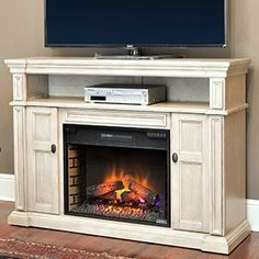 Wonderful Wyatt Infrared Electric Fireplace Media Console In Weathered White    28MM4684 T477  Fireplace Media Stand