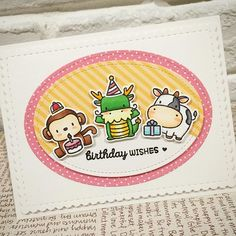 A clean birthday card for my dearest hubby  haha its a weird combination of 3 cuties from #mamaelephant lunar animals because my hubby is born in the year of dragon, and his birthday falls on the 1st day of Chinese New Year this year and this year is the year of Monkey! And of cos the chubby cow is me who is pushing my little present to hubby  end of story.