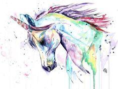 einhorn bild - ein wildes regenbogenfarbenes einhorn mit schwarzen augen und einem langen regenbogenfarbenen horn