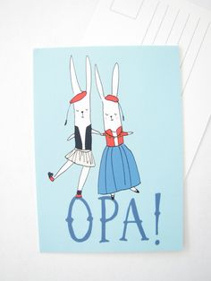 Dancing bunnies Postcard Blank Greeting card by AthenaandEugenia
