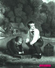 1852   Two Boys Playing Games.  From: Christmas Blossoms  via Google Books (PD-150) suzilove.com