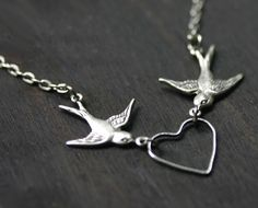 Swallow Necklace with Open Heart Silhouette - etsy