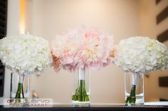 Pink Peony Bridal Bouquet and White Hydrangea Bridesmaid Bouquets - The French Bouquet - Ace Cuervo Photography