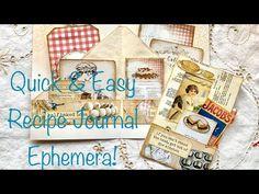 Quick & Easy Recipe Journal Ephemera! - YouTube Journal Covers, Journal Pages, Food Journal, Quick Easy Meals, Ephemera, Right Brain, Esty, Altered Books, Journal Inspiration