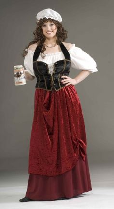 Adult Tavern Wench Plus Size Costume - Renaissance Maiden   Includes: Hat, Blouse, Corset and Skirt!!   Size Plus (16-22)