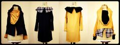 Pullover/ dress- REVERSIBLE - 4 in 1 garment- black and moustard yellow - stretch- Tormenta collection. by L0ulitas on Etsy