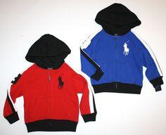 NWT Ralph Lauren Polo Boys Big Pony Full Zip Red Hoodie Sweatshirt 3T #RalphLauren #Everyday