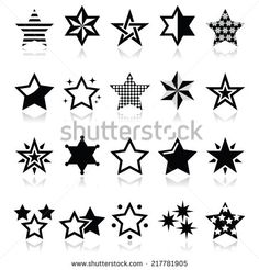 Stars black icons with reflection isolated on white by RedKoala