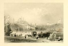 Uçan(Galata) Köprü - Miss Pardoe, 'The Beauties of the Bosphorus',  Londra 1838. Çelikbaskı.  William H. Bartlett