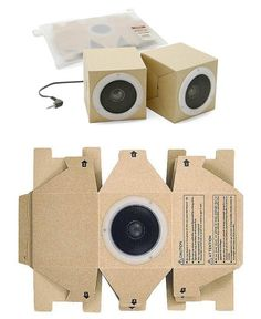"""The Muji Cardboard Speakers are """"collapsible cardboard speakers"""". They come from Japanese-based, Muji and take packing light to a new level because they are Cardboard Design, Cardboard Toys, Cardboard Furniture, Club Colombia, Karton Design, Muji Style, Folders, Speaker Design, Audio Design"""