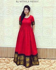 Reuse old saree Saree Gown, Sari Dress, Anarkali Dress, Indian Gowns, Indian Outfits, Indian Long Frocks, Ethnic Fashion, Indian Fashion, Women's Fashion