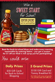 Back to school Mrs. Butterworth's Giveaway! Includes a $100 GC to Walmart and lots of yummy breakfast items!