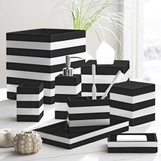 Here are best unique home decoration ideas for black and white bathroom design. See more best bathroom design ideas, minimalist bathroom styles in White Bathroom Accessories Set, Black Bathroom Decor, Black White Bathrooms, Black Decor, White Decor, Modern Bathroom, Black And White Bathroom Ideas, Black Bathroom Sets, Bathroom Marble