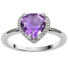 Orchid Jewelry Valentine Collection 925 Sterling Silver 1.56CTtw Genuine Amethyst Ring (Size 7), Women's, Purple