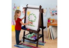 KidKraft Deluxe Wood Easel-Espresso...this is perfect and will match the playroom! I just love the roller for the paper on top!