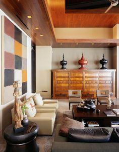 Лучшие дизайнерские находки - Гавайский дом в балийском стиле -  деревянные кессоны