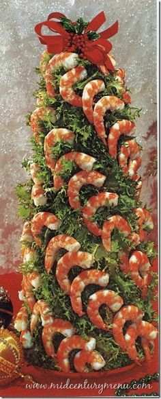 Shrimp Curly Endive Christmas Tree – 1971 Perhaps this deserves a revival? I love shrimp cocktail! - I feel like this would be THE BOMB ugly christmas sweater food - because it's ugly! Funny Christmas Tree, Christmas Apps, Christmas Party Food, Christmas Entertaining, Xmas Food, Christmas Appetizers, Christmas Cooking, Christmas Treats, Christmas Humor