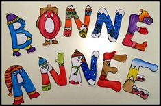 Banderole BONNE ANNEE Art Origami, Diy And Crafts, Crafts For Kids, Anul Nou, Banner, New Year 2017, Paper Dolls, Happy New Year, Bullet Journal