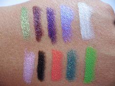LA Colors Jumbo Eye Pencils Swatches -  T: Summer Time, Vacation, Tropical Bliss, Bikini Time, Sea Shells; B: Pretty in Pink, Sunglasses, Popsicle, Beach Resort, Limeade