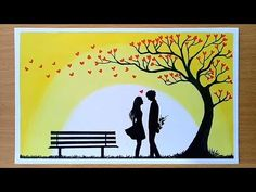 How to draw Romantic couple under love tree - YouTube