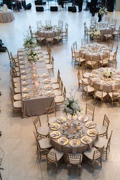 Gold and White Wedding Reception Table Layout | St. Pete Museum of Fine Arts
