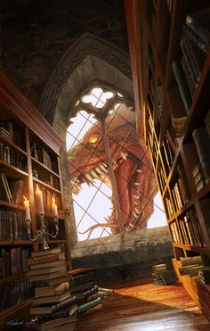 A dragon's storming the library castle keep!!1 #fantasy #fairytale #myth #legend #art #dream #dragon