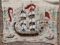 17th Century Greek Island embroidery (Skyros) Embroidery Fashion, Embroidery Art, Greek Traditional Dress, Greek Design, Needle Book, Greek Art, Fabric Art, 17th Century, Folk Art