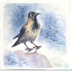 Crow original watercolour. Watercolor crow, bird artwork, bird watercolor, bird wall art, watercolor bird art, bird painting, crow art