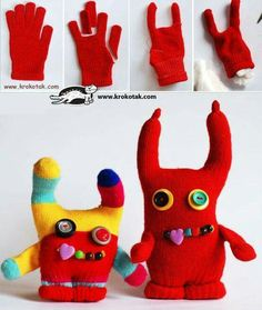 Monster Gloves made from orphan gloves & buttons! Monster Gloves made from orphan gloves & buttons! Monster Dolls, Monster Gloves, Sewing Toys, Sewing Crafts, Sewing Projects, Craft Projects, Sock Crafts, Fabric Crafts, Fun Crafts