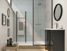 Royals Noble by Pamesa Ceramic wall tile in a 30x90cm format which offers a contemporary take on traditional patterns and comes in 7 colours, including Ocean as shown here. www.pamesa.com