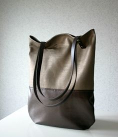 Metallic Linen and Leather Bag leather Handles Straps Bronze. $69.00, via Etsy.
