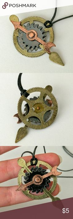 """Steampunk gears pendant necklace I picked up this beauty a few years ago when I was living in Scotland, and I got tons of compliments!  So unique and fun, with bits that really spin!  An awesome piece that includes a cord that slides easily to adjust to your favorite length.  Price is firm and extremely reasonable, but click """"add to bundle"""" to save 10% on your purchase of 2+ items! Jewelry Necklaces"""