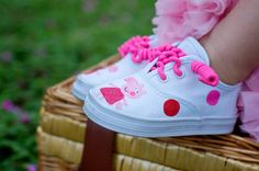 Pink Pig Sneakers - Hand painted sneakers with hot pink and red pig and polka dots all sparkled up for your little girl -baby and toddler