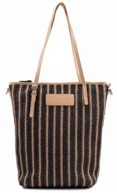 Small straw tote with top zipper closure, leather handles and an adjustable and removable webbing shoulder strap. An essential for your beach days.