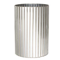 WBFAC - Round faceted antique mirror wastebasket with silver detailing.