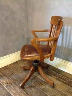 Details About Antique 1920 1930s Swivel Office Chair