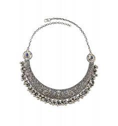 Silver Oxidized Floral Motif Hanging Bead Lapis Hasli